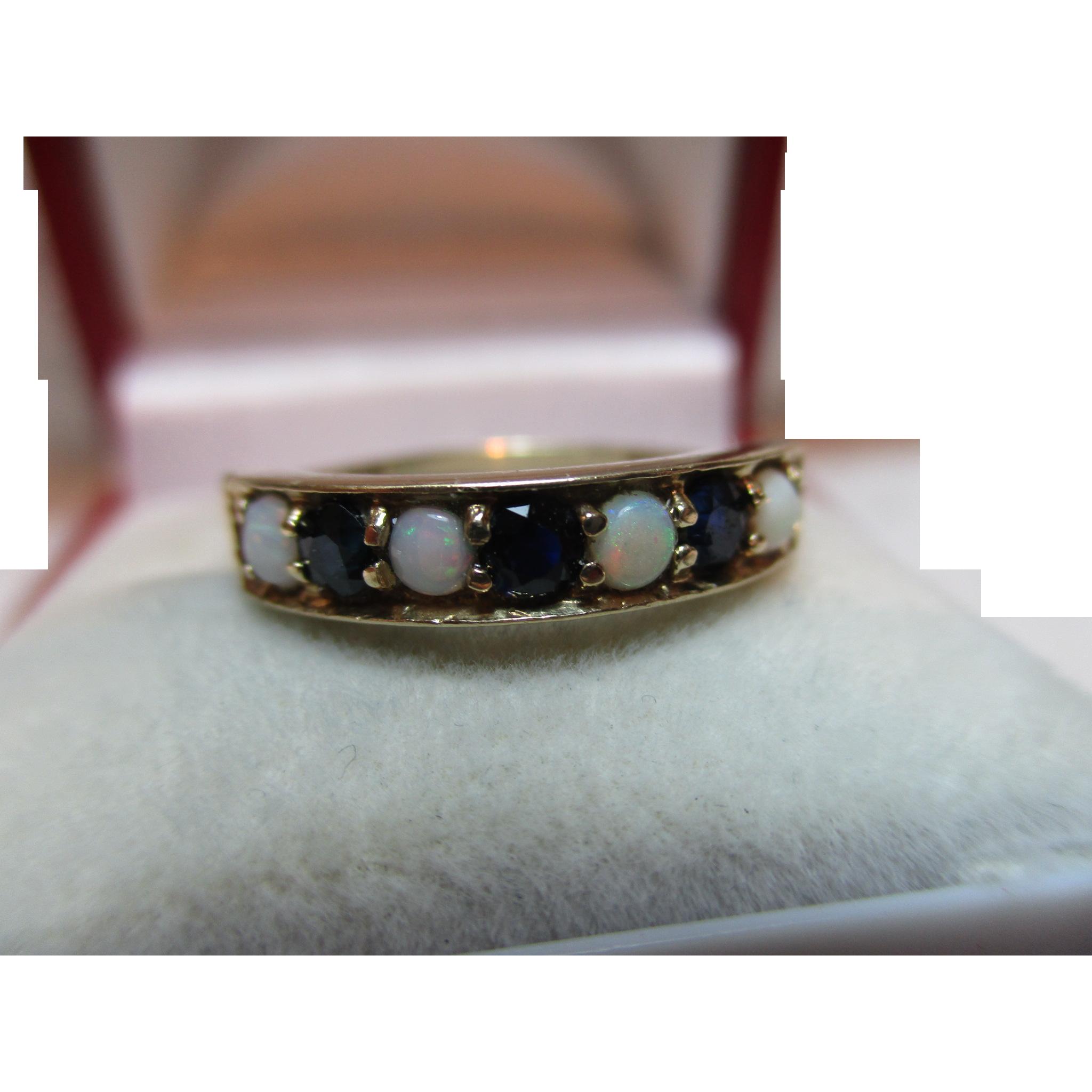 Pretty Vintage{London 1976} 9ct Solid Gold 7-Stone Dark Sapphire + Opal Gemstone 'Half Eternity' Ring