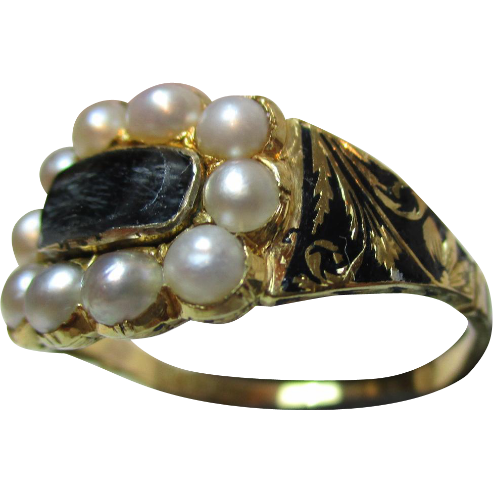 Superb Early Victorian{Birmingham 1843} 18ct Solid Gold Black Enamel + Split Seed-Pearl Gemstone Memorial Ring{4.4 Grams}