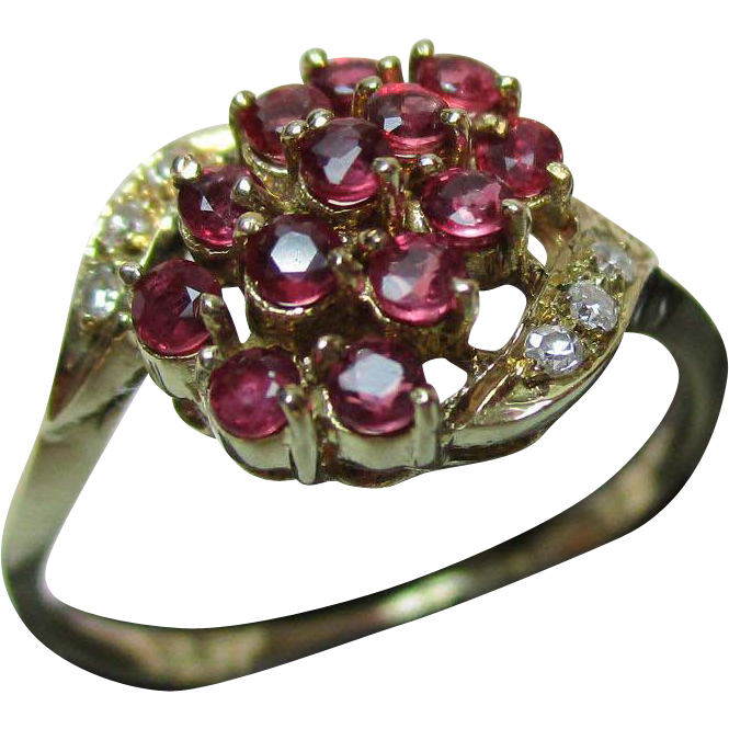 Pretty Vintage 14ct Solid Gold Diamond + Ruby Gemstone 'Crossover' Ring{0.4Ct Ruby Weight}
