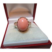 Superb Antique Style 9ct Solid Rose Gold Orange Coral Solitaire Gemstone Ring{4.1 Grams}