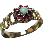 Pretty Vintage{Birmingham 1975} 9ct Solid Gold Ruby + Opal Gemstone Cluster Ring