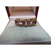Decorative Vintage{London 1982} 9ct Solid Gold 5-Stone Amethyst Gemstone Ring