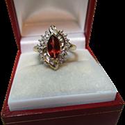 Pretty Vintage 9ct Solid Gold 'Marquise Shaped' Diamond + Garnet Gemstone Ring{3.8 Grams}