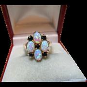 Pretty Vintage 9ct Solid Gold Opal + Dark Sapphire Gemstone Cluster Ring