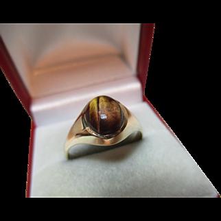 Pretty Vintage{London 1978} 9ct Solid Gold 'Tiger's Eye' Gemstone Ring