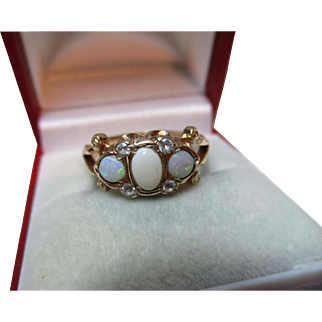 Ornate Antique Style 9ct Solid Gold Opal + Cubic Zirconia Gemstone Ring