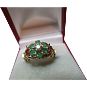 Delightful Vintage 9ct Solid Gold Diamond, Emerald + Ruby Gemstone Cluster Ring{0.15Ct Diamond Weight}