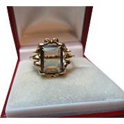 Attractive Vintage 9ct Solid Gold Smoky Quartz Gemstone Ring{3.3 Grams}