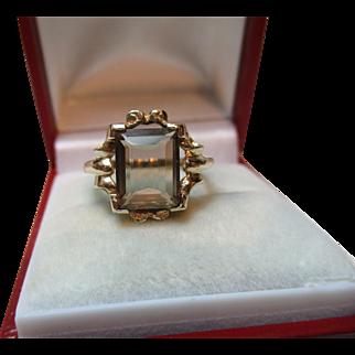 Attractive Vintage 9ct Solid Gold Smoky Quartz Gemstone Ring{3.3 Grams}