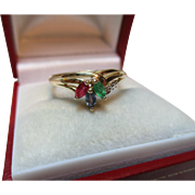 Pretty Vintage 9ct Solid Gold Diamond, Emerald, Sapphire + Ruby Gemstone Ring