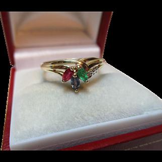 Pretty Vintage 9ct Solid Gold Diamond, Emerald, Sapphire + Ruby Gemstone Ring