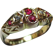 Attractive{Birmingham 1923} 9ct Solid Gold 6-Stone Diamond + Ruby Gemstone Ring