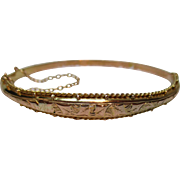 Decorative Antique 9ct Gold 'Foliate Engraved' Bangle{4.6 Grams}