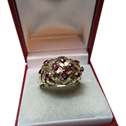 Attractive Vintage{London 1973} 9ct Solid Gold Ruby Gemstone Ring{5.1 Grams}