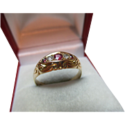Attractive Edwardian{Chester 1910} 18ct Solid Gold 5-Stone Diamond + Ruby Gemstone Ring