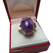 Attractive Vintage{Birmingham 1963} 9ct Solid 'Cushion Shaped' Gold Purple Agate Gemstone Ring{6.5 Grams}