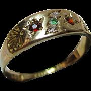 Pretty Victorian{Chester 1898} 18ct Solid Gold Diamond, Emerald + Garnet Gemstone 'Suffragette' Ring