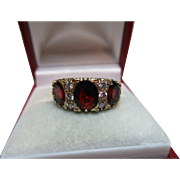 Attractive Antique Style 9ct Solid Gold Garnet + Cubic Zirconia Gemstone Ring{4.2 Grams}