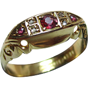 Edwardian{Chester 1902} 18ct Solid Gold 7-Stone Diamond + Ruby Gemstone Ring