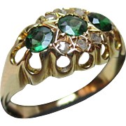 Ornate Edwardian{Birmingham 1905} 18ct Solid Gold Diamond + Emerald Gemstone Ring