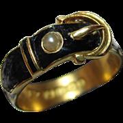 Victorian{Birmingham 1900} 18ct Solid Gold Black Enamel + Split Seed-Pearl Gemstone 'Buckle' Ring{4.9 Grams}