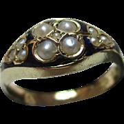 Victorian{Birmingham 1870} 18ct Gold Black Enamel + Split Seed-Pearl Gemstone Ring