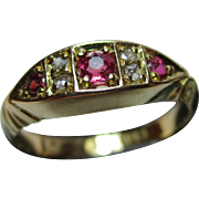 Lovely Edwardian{Chester 1902} 18ct Solid Gold 7-Stone Diamond + Ruby Gemstone Ring