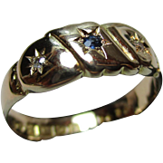 Attractive Edwardian{Chester 1902} 18ct Solid Gold 3-Stone Diamond + Sapphire Gemstone Ring