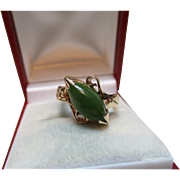 Attractive Antique 14ct Solid Gold 'Marquise Shaped' Jadeite Gemstone Ring{3.5 Grams}