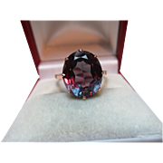 Delightful Antique 14ct Solid Rose Gold Cushion Shaped 'Alexandrite' Gemstone Ring{3.6 Grams}