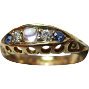 Decorative Edwardian{Birmingham 1903} 18ct Solid Gold 5-Stone Diamond, Sapphire + Moonstone Gemstone Ring