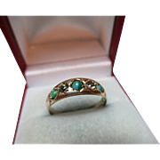 Victorian{Chester 1884} 15ct Gold 5-Stone Diamond + Turquoise Gemstone Ring