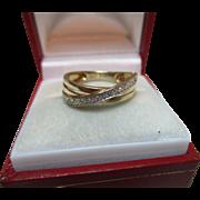 Pretty 9ct Solid Gold Diamond Gemstone 'Half Eternity' Crossover Ring