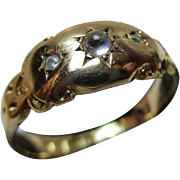 Attractive Edwardian{Chester 1905} 18ct Solid Gold 3-Stone Diamond + Moonstone Gemstone Ring