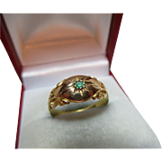 Edwardian{Chester 1905} 18ct Solid Gold Emerald Solitaire Gemstone Ring