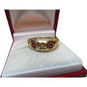 Victorian{Chester 1892} 18ct Solid Gold 3-Stone Diamond + Ruby Gemstone Ring
