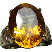 Attractive Vintage 9ct Solid Gold 'Cushion Shaped'  Citrine Gemstone Ring{7.2 Grams}