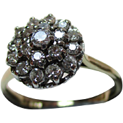 Attractive 14ct Solid Gold Diamond Gemstone Cluster Ring{4.1 Grams}{0.8Ct Diamond Weight}