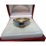 Attractive 18ct Solid Gold Light Blue Enamel + Sapphire Gemstone Ring{3.3 Grams}