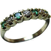 Pretty Vintage 9ct Solid 7-Stone Gold Diamond + Emerald Gemstone 'Half Eternity' Ring{0.15Ct Diamond Weight}