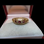 Decorative Edwardian{Birmingham 1903} 18ct Solid Gold 5-Stone Diamond + Ruby Gemstone Ring