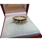 Pretty Victorian{Birmingham 1882} 15ct Solid Gold 5-Stone Split Seed-Pearl Gemstone Ring