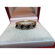 Pretty Vintage 9ct Solid Gold 7-Stone Diamond + Sapphire Gemstone 'Half Eternity' Ring