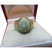 Pretty 14ct Solid Gold Oval Shaped 'Jadeite' Gemstone Ring{2.8 Grams}