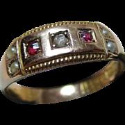 Decorative Victorian{Birmingham 1896} 15ct Solid Gold Diamond, Ruby + Split Seed-Pearl Gemstone Ring