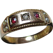 Decorative Victorian{Birmingham 1896} 15ct Solid Gold Diamond, Ruby + Split Seed-Pearl Gemstone Ring