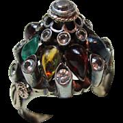 Pretty 14ct Solid Gold Multi-Colour Gemstone 'Pagoda' Ring{5.5 Grams}