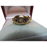 Decorative Antique{Chester 1913} 18ct Solid 3-Stone Gold Diamond + Sapphire Gemstone Ring