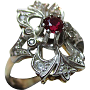 Attractive 'Art Deco' 15ct Solid Gold Ruby +White Topaz Gemstone Ring