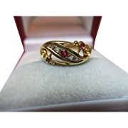 Lovely Edwardian{Birmingham 1909} 18ct Solid 7-Stone Gold Diamond + Ruby Gemstone Ring